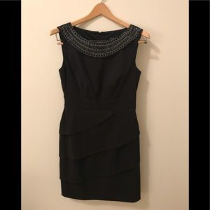 Dressbarn  tiered studded neckline dress